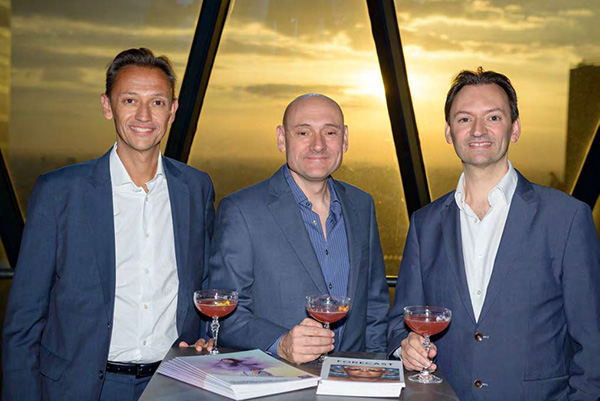 The late Francis Pickthall, centre, with brothers Chris (left) and Nick pictured at CPL Aromas' re-branding reception held at The Gherkin 5th April 2017