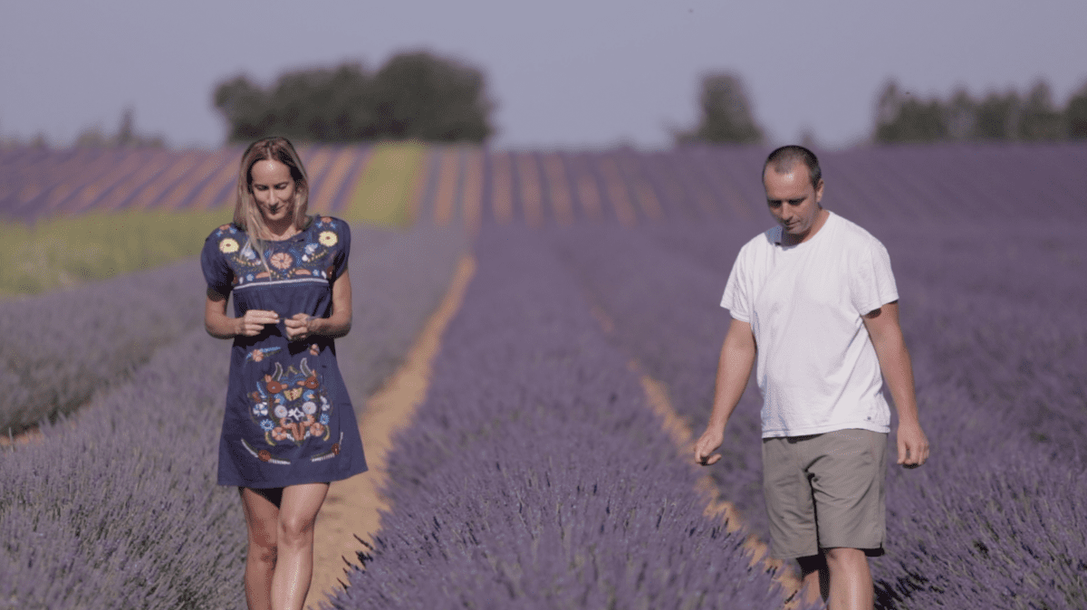 Firmenich Perfumer Elise Benat and lavender farmer, producer and member of the Coop SCA3P Jérôme Boen are seen in the lavender fields